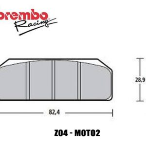 BREMBO RACING Z04 – 07835424 SINGLE COMPOUND BRAKE PAD FOR BREMBO P34/38 MONOBLOC CALIPERS